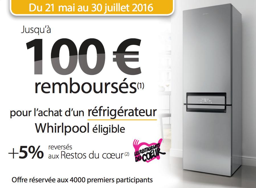 Bon Plan!Whirlpool rembourse 100€ sur ses réfrigérateurs