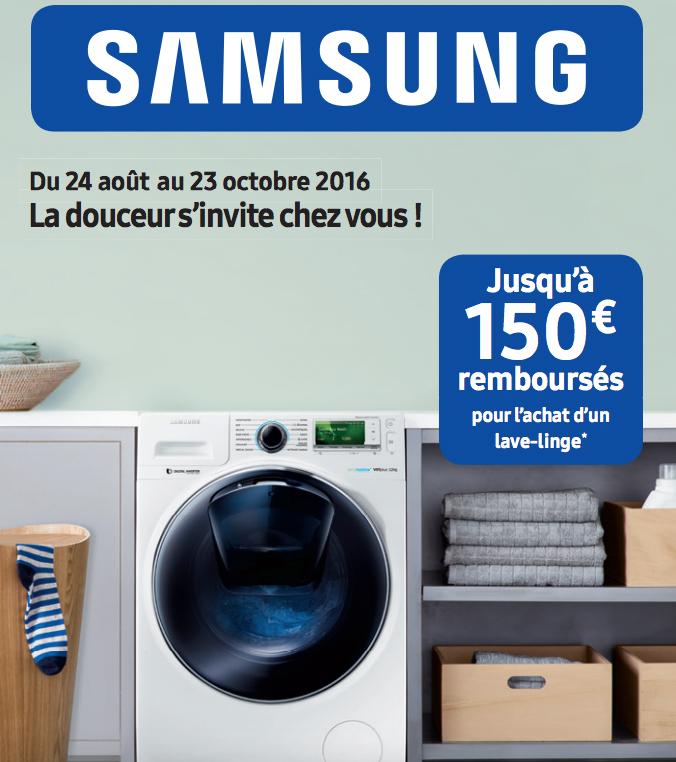 Bon Plan!Samsung rembourse jusqu'à 150€ sur ses lave linge