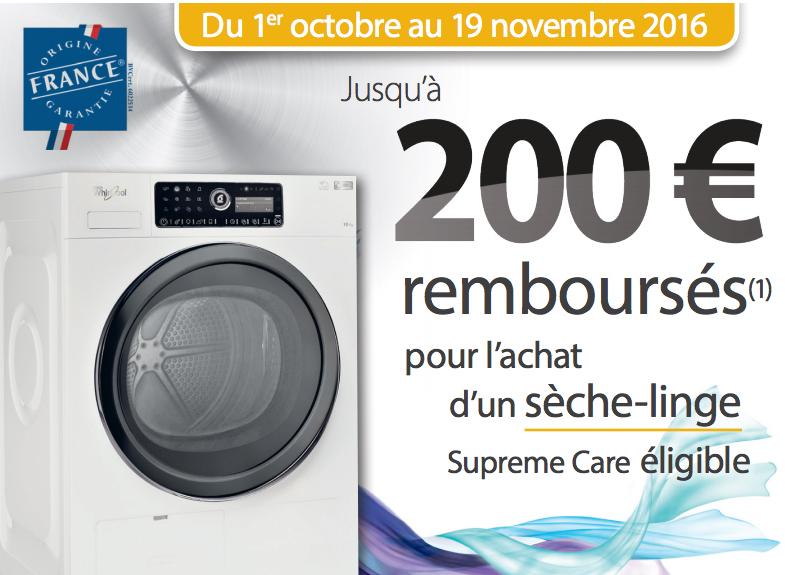 Bon Plan!Whirlpool rembourse 200€ sur ses sèche linge Supreme Care
